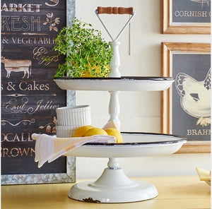 White Enamel 2-Tier Display Tray