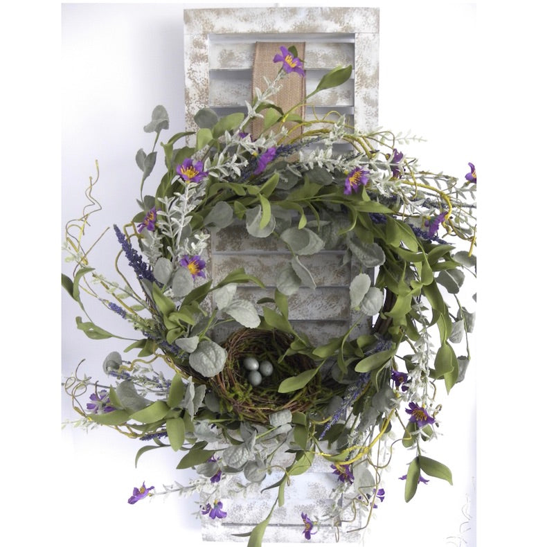 Antique Style Shutter Lavender Herb Wreath