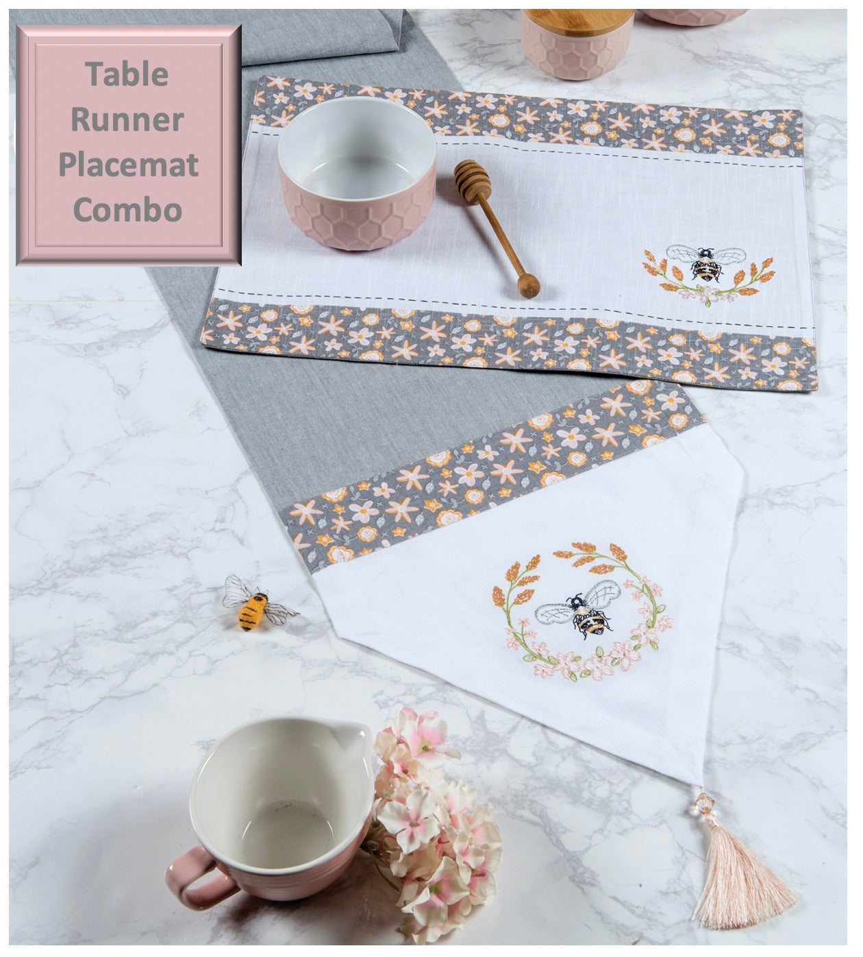 Bee Inspired Table Runner Placemat Combo