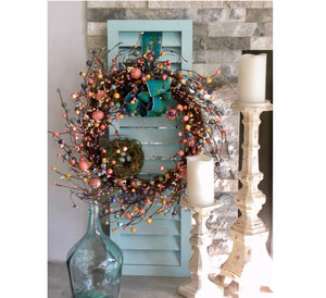 Spring Berry Wreath Shutter Wall Art