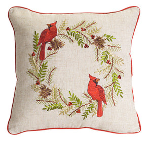 Cardinal Pine Wreath Pillow