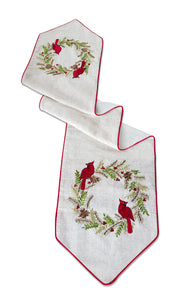 Cardinal Pine Wreath Table Runner