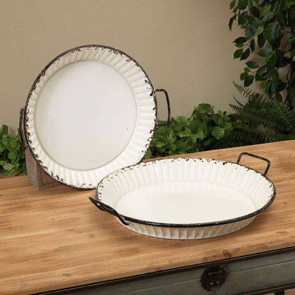 Country White Serving Trays Set of 2