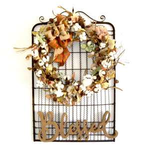 Garden Gate Cotton Boll Fall Wreath