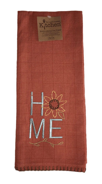 Country Home Embroidered Tea Towel