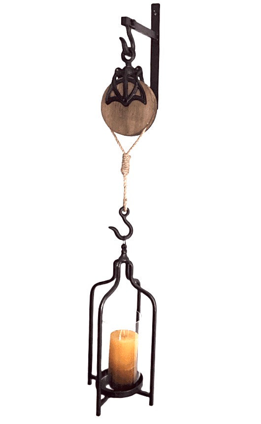 Pulley with Lantern Wall Mount