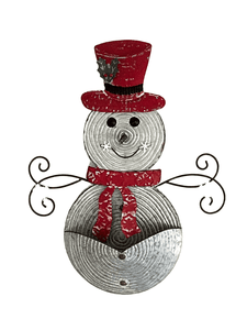 "Snowman 24.25"" Metal Wall Hanging with Container"