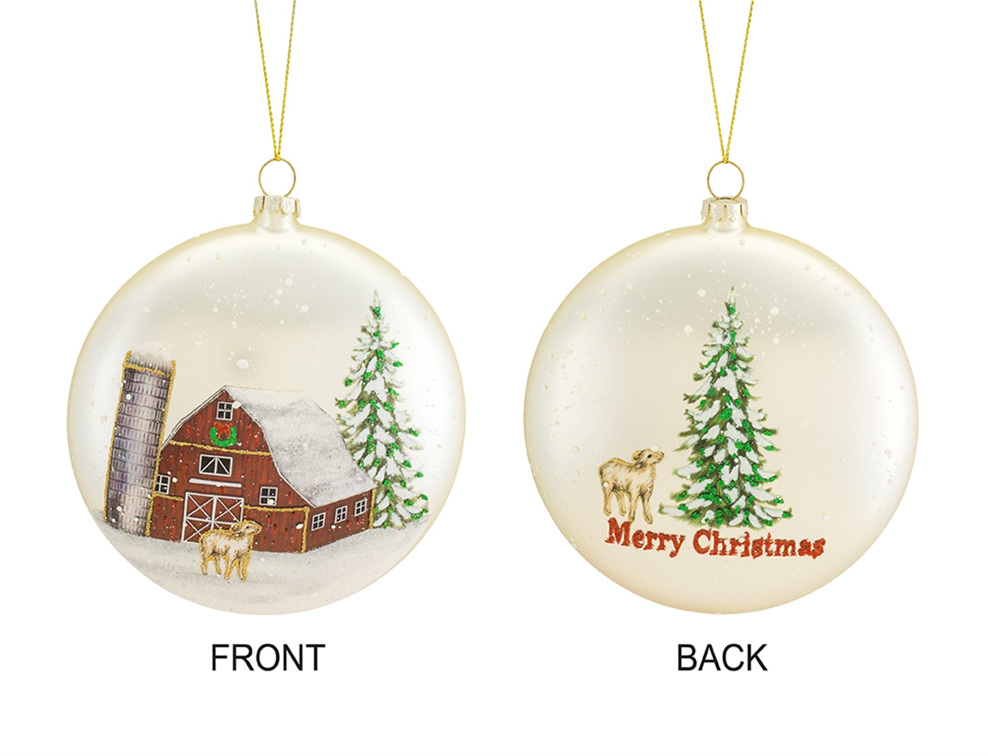Lamb & Barn Glass Ornament