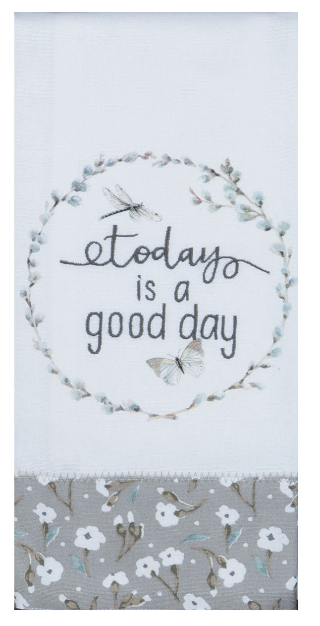 Good Day Embroidered Tea Towel