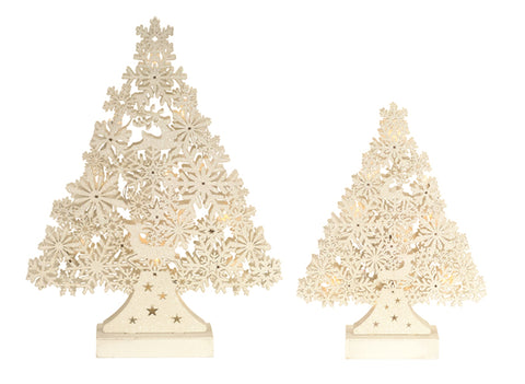 Snowflake & Deer Tree Set w/Lights