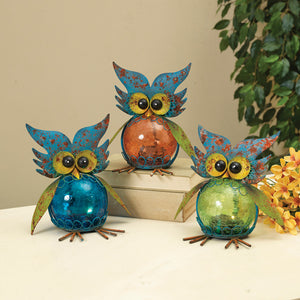 Solar Lighted Metal Owls Set/3
