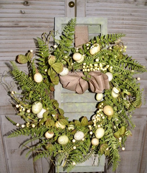 Natural Twig Fern Wreath Shutter Wall Art