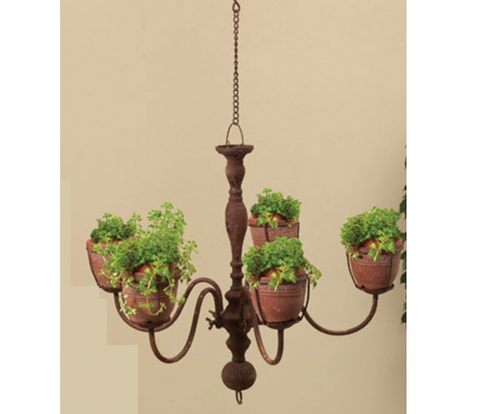 Villa Chandelier Planter with Fire Pots
