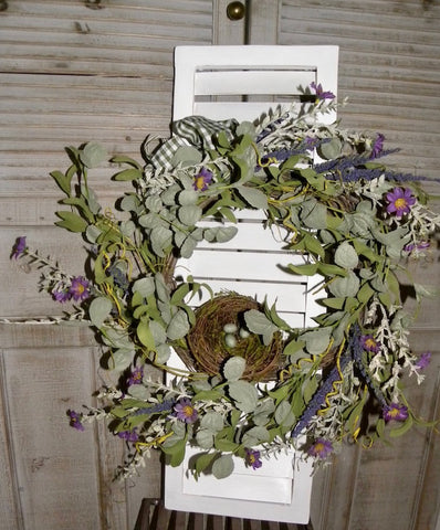 Lavender Wreath Shutter Wall Art