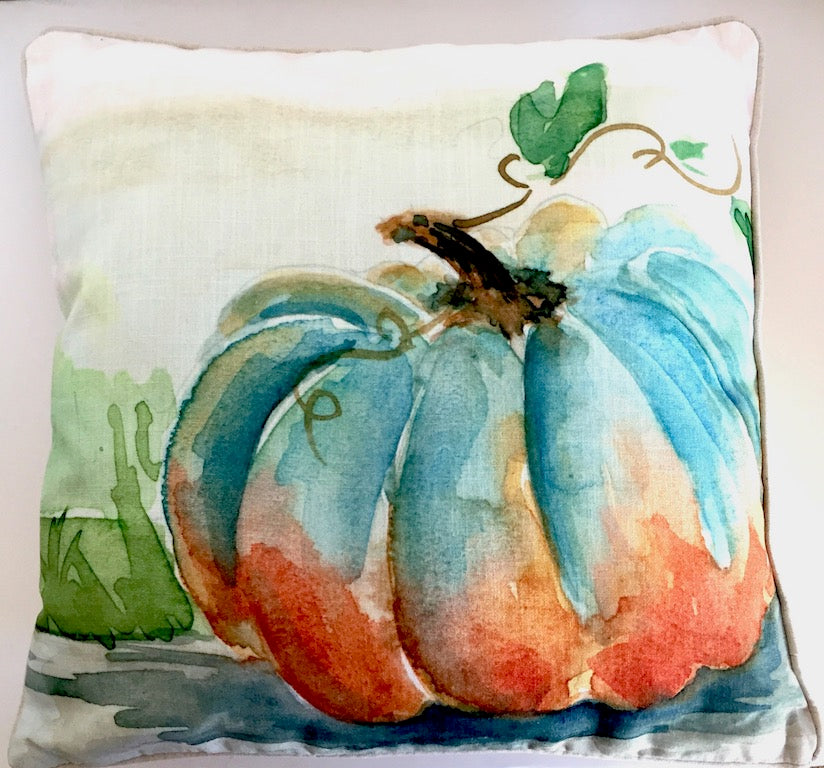 Fall Blue Pumpkin Pillow