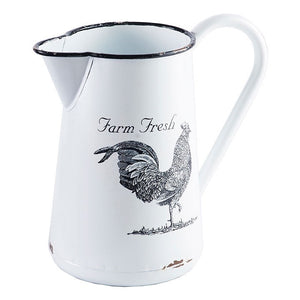 Rooster Enamel Pitcher
