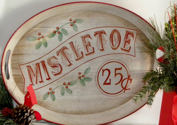 Holiday Mistletoe Tray