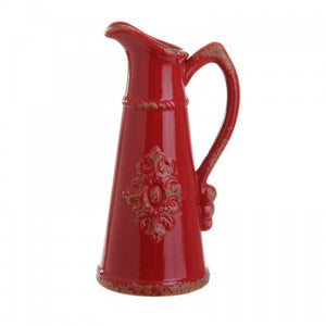 Red Pitcher Accent Vase