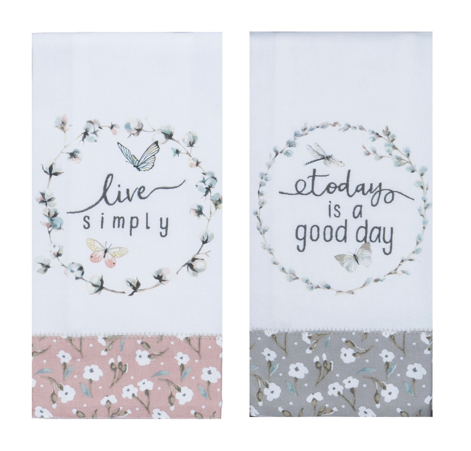 Live Simply & Good Day Set/2 Tea Towels