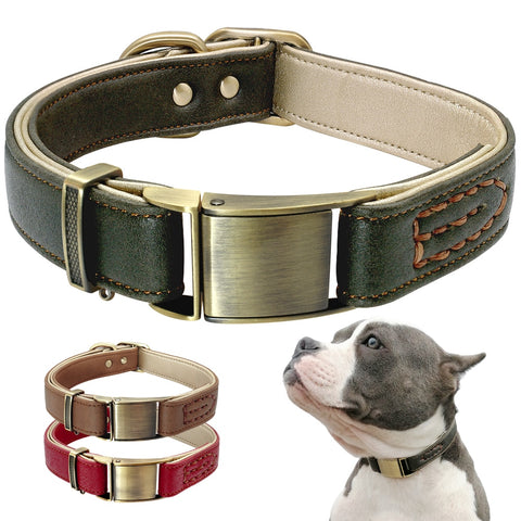 Dog Collar Genuine Leather Dog Pet Collar For Pitbull Durable Adjustable Dogs Collars For Small Medium Dogs Green Red Brown
