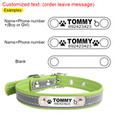 Reflective Leather Personalized Dog Collar