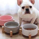 Large Capacity Pet Ceramic Feeding Bowl Fordable water food Cup Dish with Wood Frame for Puppy pet Cat Dog Chihuahua Accessories