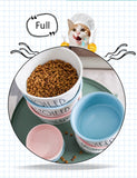 Pet Products Cute Bowls with Handle Feeder Food Dispenser Cat Water Bottle Feeding Plato Mascota Food Dog Bowl Ceramic Container