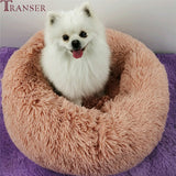 Transer 7Color Fluffy Soft Plush Cat Dog Bed House Round Shape Small Dog Puppy Kennel Cushion Sleeping Beds Drop Shipping 908