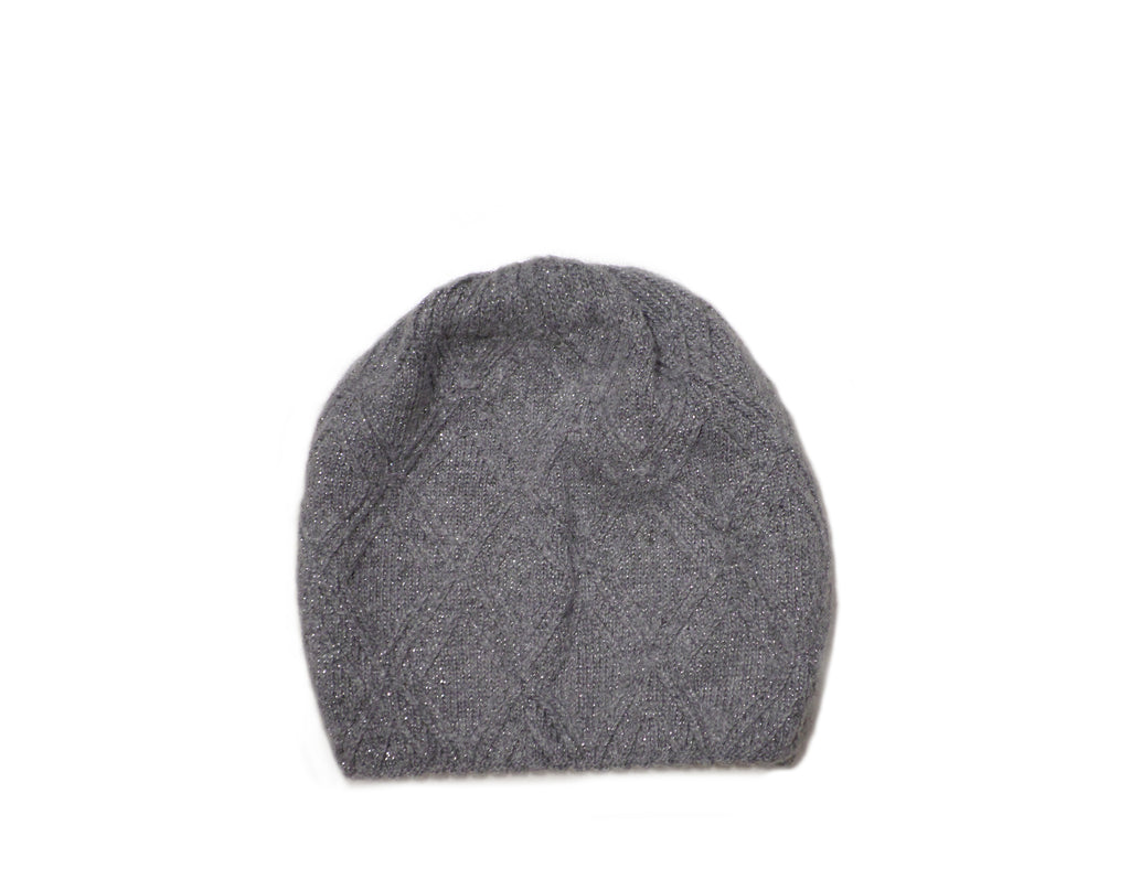 Grey Knitted Beanie (with silver sparkles)