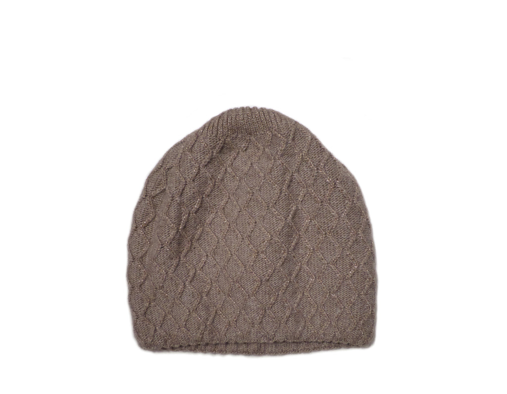 Taupe Knitted Beanie (with silver sparkles)
