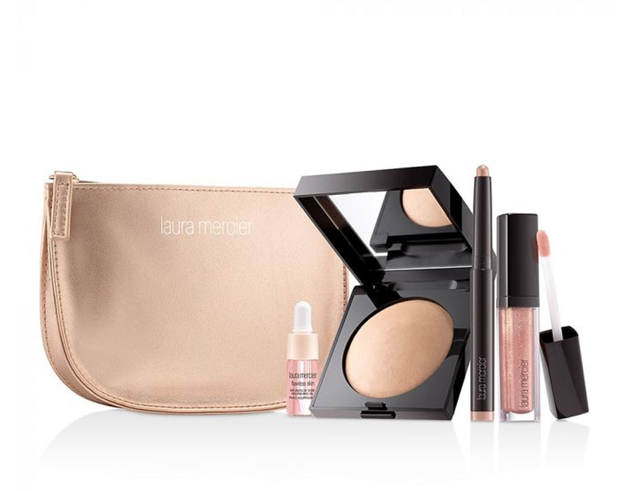 Laura Mercier ROSEGLOW RADIANCE COLLECTION FALL GIFT SET - Full size Matte Radiance Highlight 01, Micro Mini Rose Oil, Full size Cavier Eye Stick Rosegold, Full size Lip Grace Rosegold, Rosegold bag
