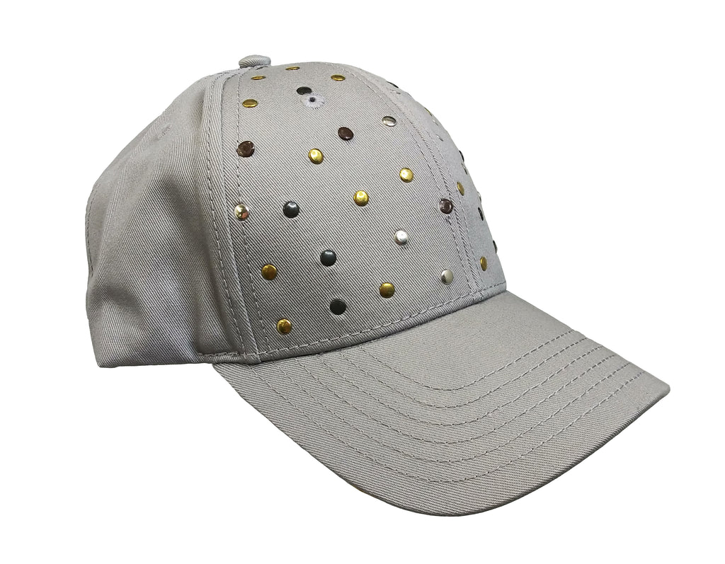 Grey Studded  Baseball Cap