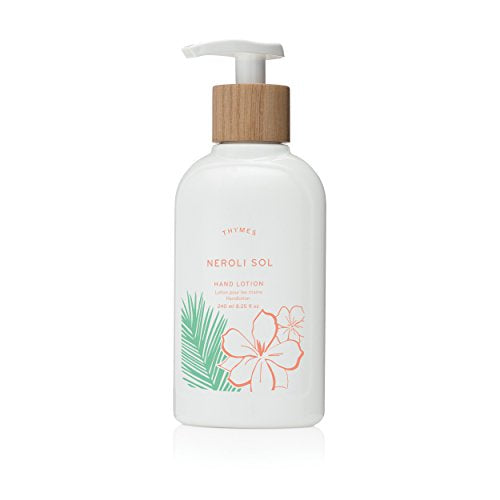 Thymes - Neroli Sol Hand Lotion with Pump - With Moisturizing Shea Butter, Vitamin E, and Refreshing Coconut Scent - 8.25 oz