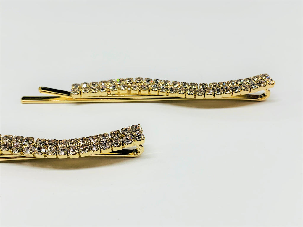 Wavy Gold Hair Clips with Rhinestones (set of 2)