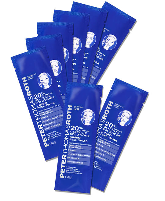 Peter Thomas Roth 20% Glycolic Solutions Jumbo Peel Cotton Swab, 8 Count