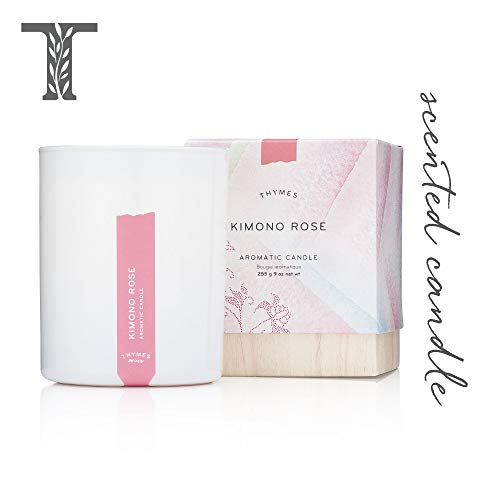 Thymes - Kimono Rose Aromatic Candle - Long Lasting Vanilla Rose Scent with Gift Box - 9 oz