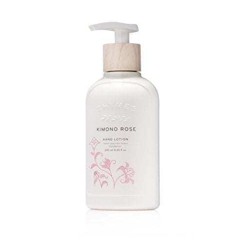 Thymes - Kimono Rose Hand Lotion with Pump - With Moisturizing Shea Butter, Vitamin E, and Vanilla Rose Scent - 8.25 oz