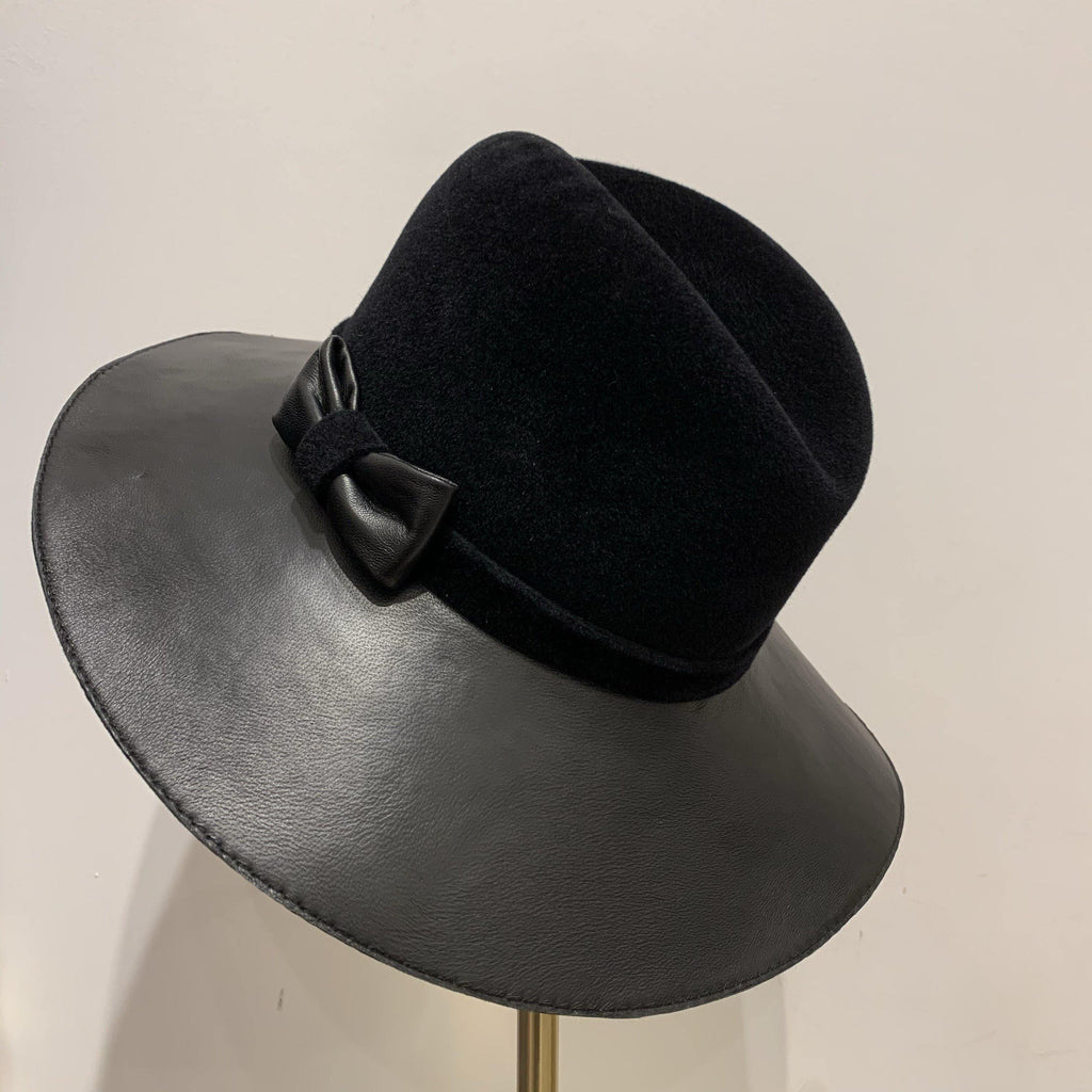 F/W Fedora with Fur Felt Crown & Leather Brim