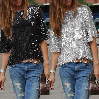 Womens Blouse Half Sleevele Parkle Glitter Solid Loose Crop Tops Summer Sequined Pullover Tops Blouse Casule Blouse Womens 2019