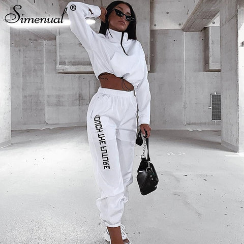Simenual Letter Print Casual Workout Two Piece Set Women Fashion Zipper Long Sleeve Outfits Sporty Active Wear Top And Pants Set
