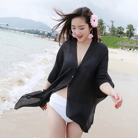 Hot sale soild v-neck Blouses Bikini Cover Up  New Summer Sexy Women Kaftan Chiffon Swim Wear Beach Wear Sundress Beach Shirts