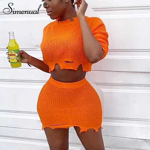 Simenual Knitted Autumn Fashion Two Piece Outfits Women Long Sleeve Ripped Matching Sets Cropped Sweater And Skirt Set Slim 2019