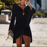 Summer Sexy Women Bikini Cover Up Knitted Solid Color Blouse Hollow Out V-Neck Beach Swim Cover-Up Robe Dress Swim Wear Sundress