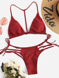 Summer Women's Bandage Low Waist Sets Swimwear Swimsuit Bathing Swimming Suit Beach Travel Wear