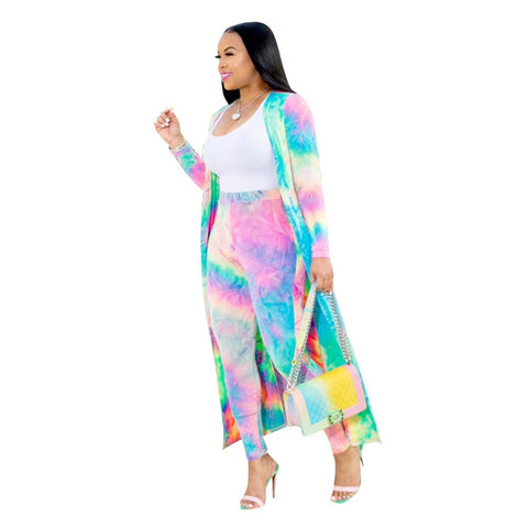 2019 New Women Set Two Piece Outfits Set Tie-dye Printed Long Cardigans Long Sleeve Coat and Skinny Pants Set