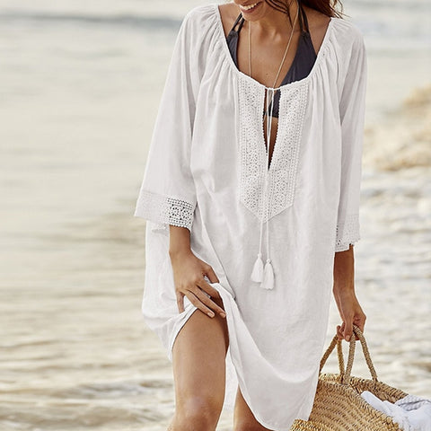 Women Summer Swimwear Cover Swimsuit Beach Wear Tunic Chiffon Sleeves Beach Swimsuit
