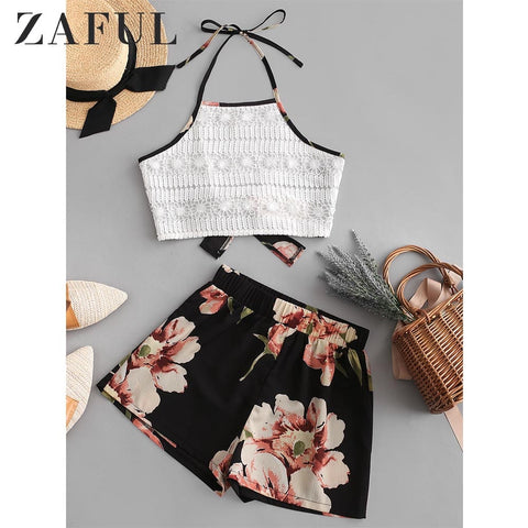 ZAFUL Lace Panel Knotted Back Elephant Floral Print Shorts Set Sleeveless Crop Top Women Halter Vintage Two Pieces Sets 2019