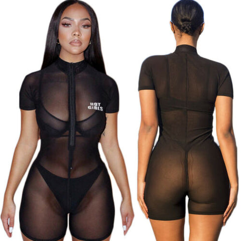 2019 New Women Perspective Short Sleeve Romper Jumpsuit Sheer Fishnet Cover Up Zipper Stretchy Bodysuit Club Bodycon Pants