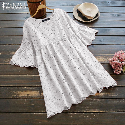 Plus Size Summer Tunic Women's Embroidery Blouse 2019 ZANZEA Woman Hollow Blusas Half Ruffle Sleeve Chemise Female Casual Shirts