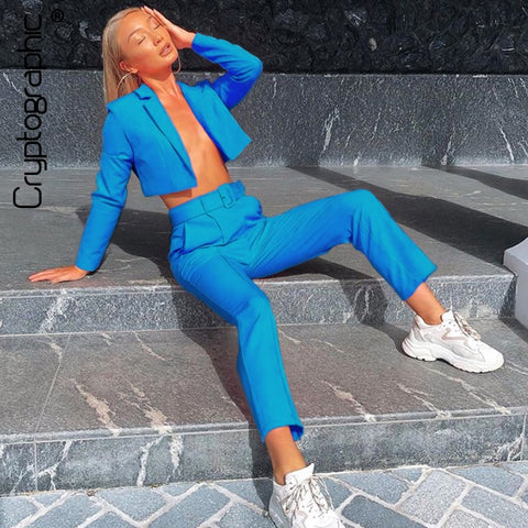 Cryptographic Neon Fashion Blazer Suit and Pant Set Women Autumn Coat Outwear Matching Sets High Waist Pants Trousers Streetwear